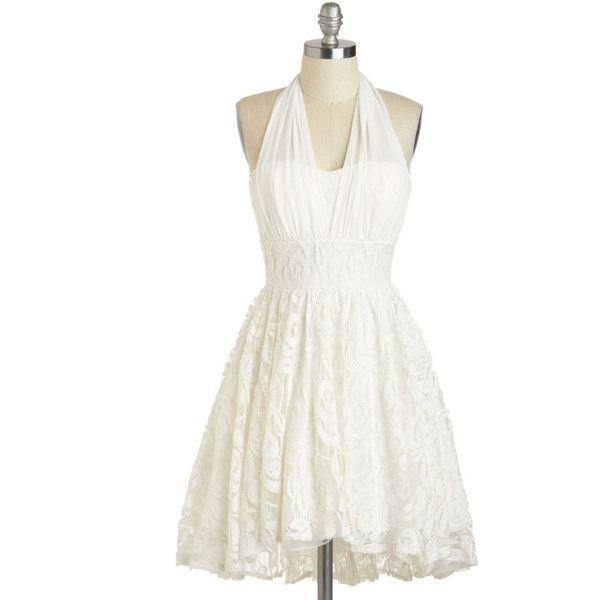 I Do Declare! Dress (€65) ❤ liked on Polyvore featuring dresses, vestidos, short dresses, robes, halter-neck tops, halter top, white halter cocktail dress and short white cocktail dress