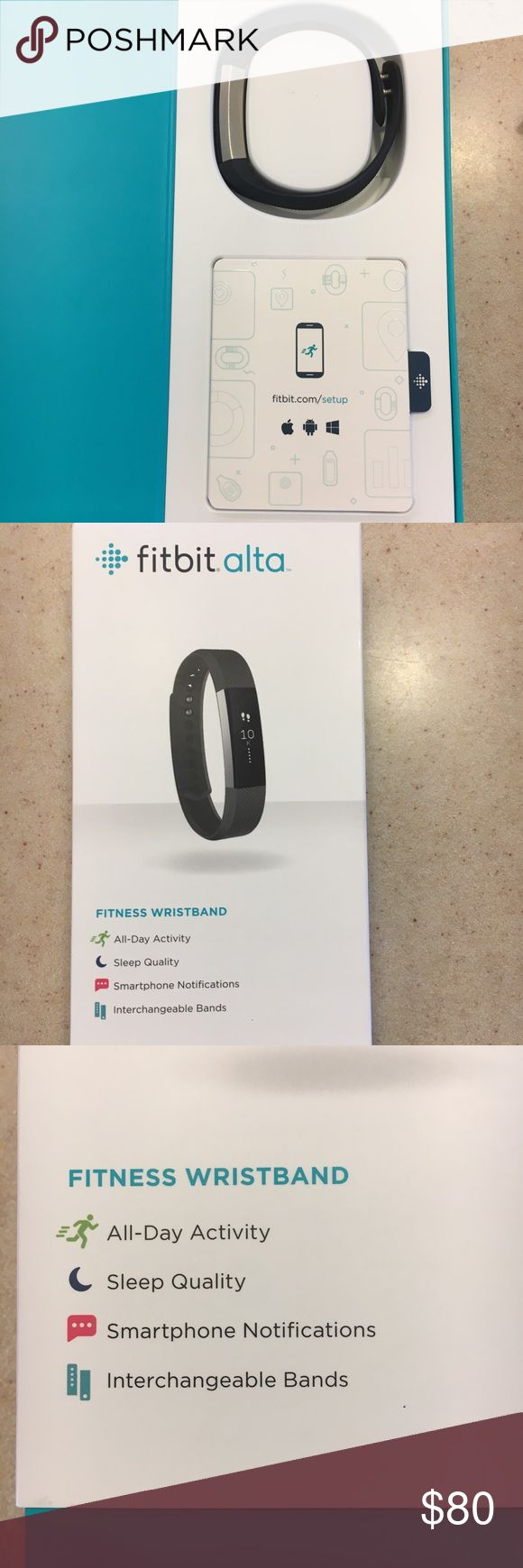 Black womens FitBit Alta New Black Fitbit Alta w/ Box & Charger. Size small band. I bought it 3 months ago and decided it would not work with the watches I wear. I purchased it at the AT&T store for $130. Only worn a few times. No scratches or damage. Comes with cord, USB plug, manual and I'll throw in an Apple charging block that I used to charge it! Make me an offer ✨ FitBit Other