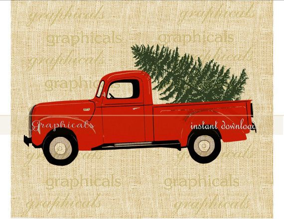 Christmas red truck Tree instant clip art digital download for iron on image transfer to fabric burlap tote pillow Decoupage Card No. 2276