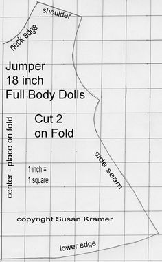 Free Fabric Doll Patterns   Sleeveless Jumper Pattern for American Girl Type 18 Inch Dolls