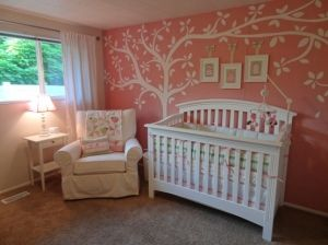 baby girl nursery. Love the coral with tree
