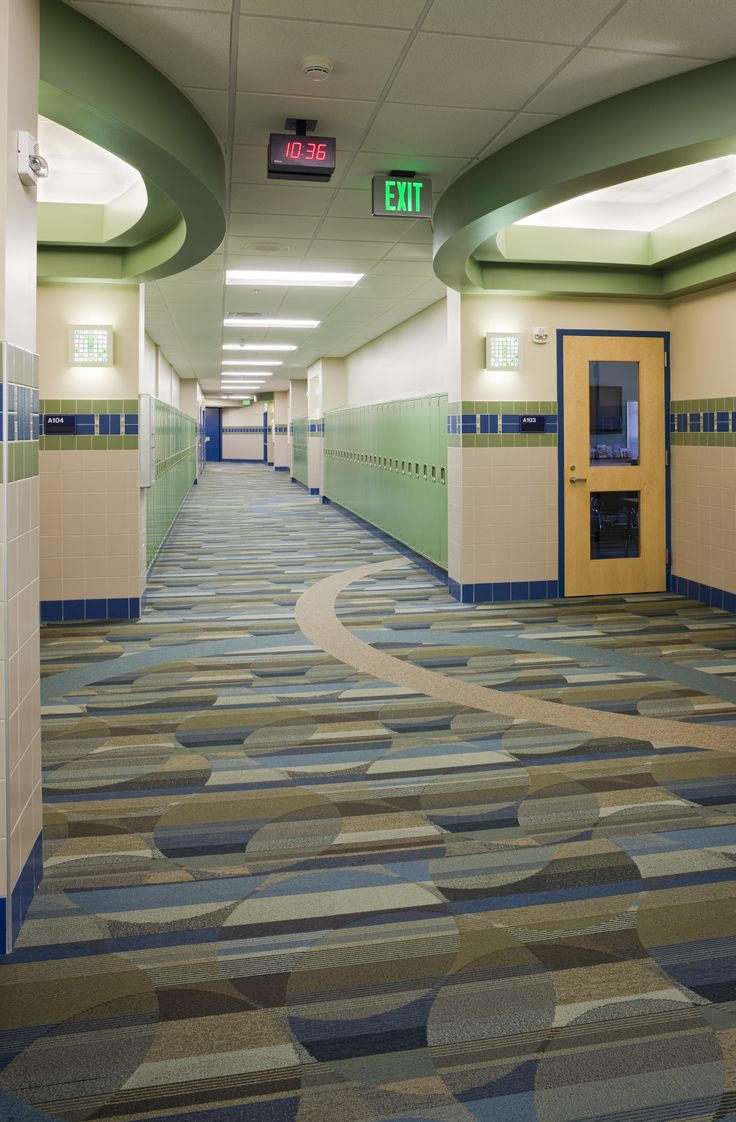 Lake Center Elementary in Portage, MI Powerbond hybrid resilient in corridor with inlays
