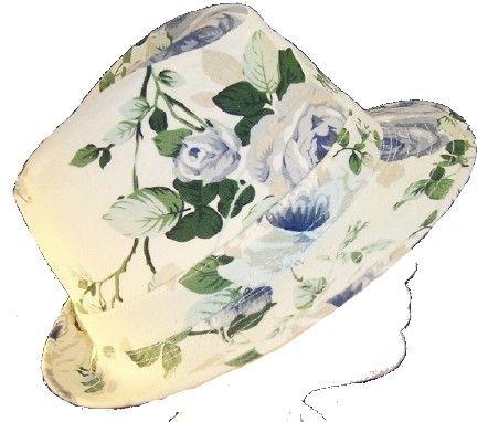 Ausgefallener Damenhut Trilby weiss mit Rosen Farbwahl Gr.58 59 Sommer