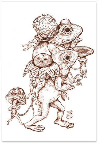 ヒグチユウコ×とよ田キノ子 ポストカード(蛙二匹) - とよ田キノ子がお贈りする、キノコ好きのための、キノコグッズ専門店