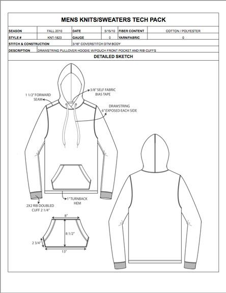 Menswear Design Detail Sheet Sample Womens Mens