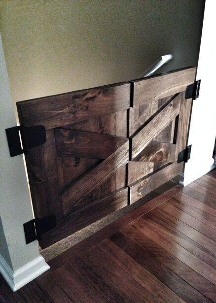 Custom Made Saloon Style Rustic Barn Door Baby Gate - Walnut on Etsy, $150.00