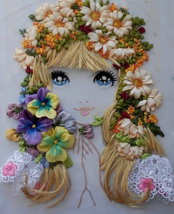 Cuadro para nenas bordado con cint
