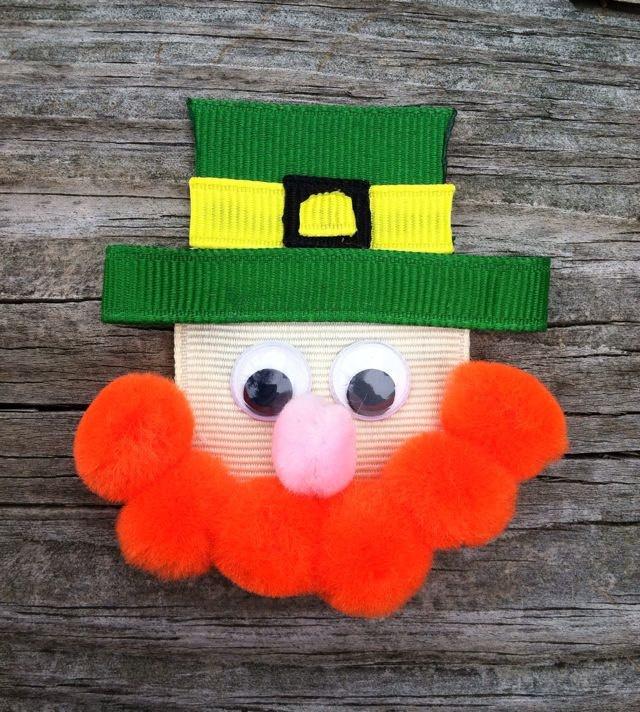 St. Patrick's Day Lucky Irish Leprechaun Ribbon Sculpture Hair Clip Bow - Saint Patty's Day Hair Bows... Free Shipping. $3.75, via Etsy.