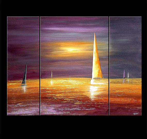 """Sailboat Painting Abstract Painting Purple Sunset Seascape Original Acrylic Painting by Osnat - MADE-TO-ORDER - 48""""x36"""""""