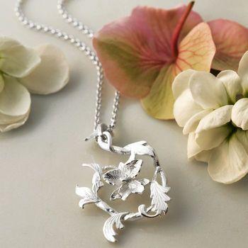 Sterling Silver Flower Swirl Necklace