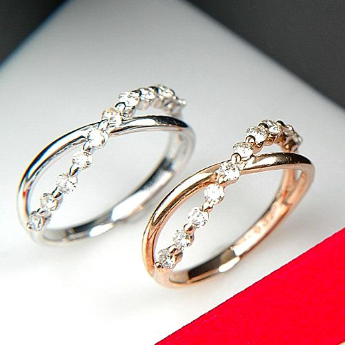 (K18PG) pink gold diamond ring (set pink/ten)