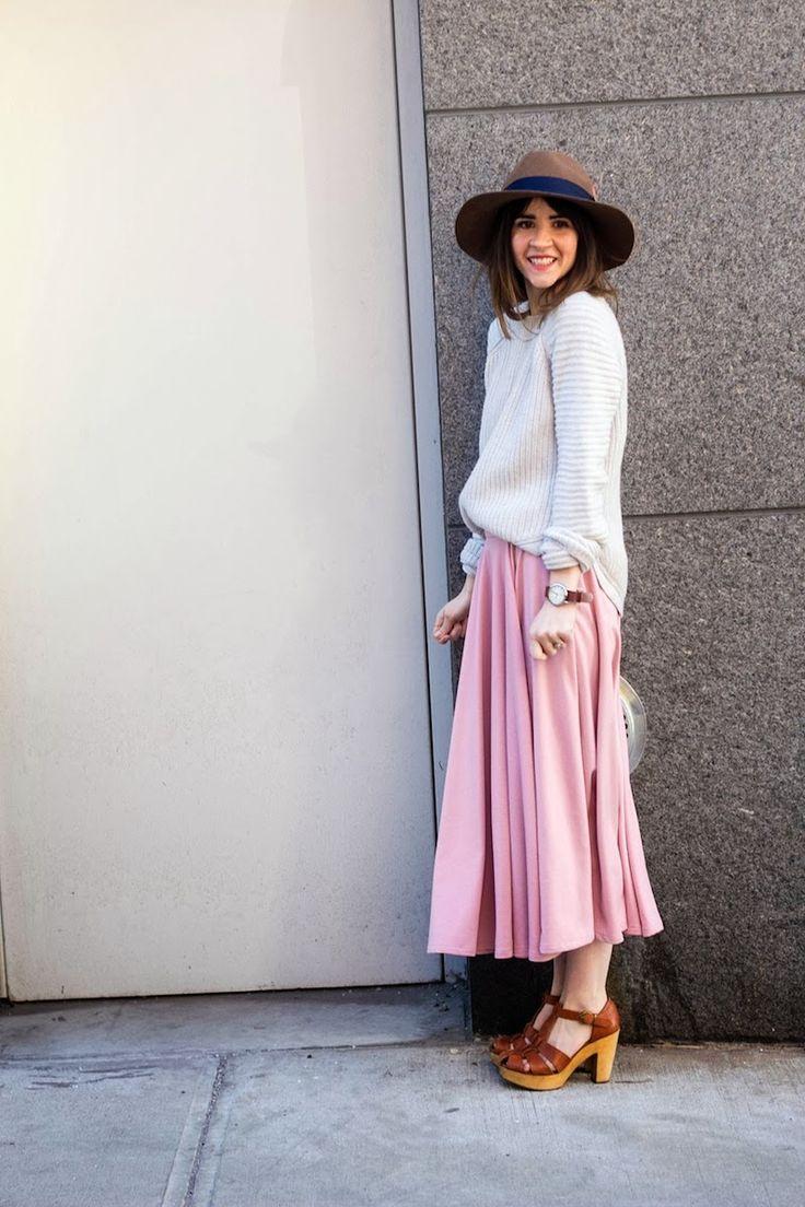 Pink skirt & white jumper