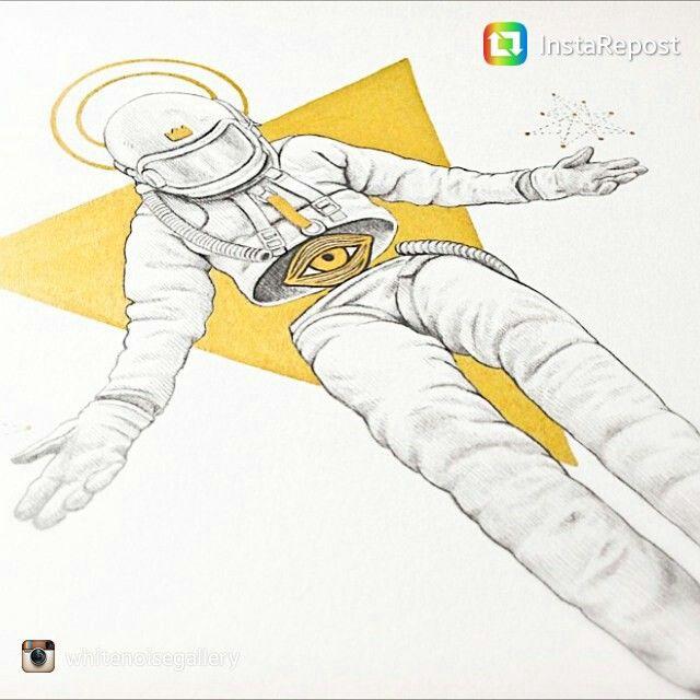 Javier Rubin Grassa - GO(L)D. #whitenoisegallery #art #contemporary #graphic #pen #astronaut #gold