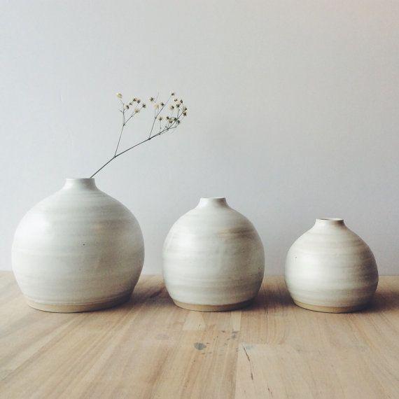 Wheel thrown three small white stoneware bud vases studio ceramic satin matte white