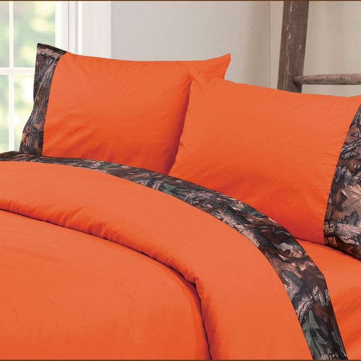 our oak camo sheets feature realistic woodland branches leaves and pop of orange color perfect for any camouflage bedding