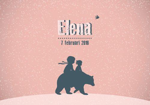 Geboortekaartje Elena - Pimpelpluis - https://www.facebook.com/pages/Pimpelpluis/188675421305550?ref=hl (# winter - sneeuw - meisje - grote broer - beer - vogel - roze - dieren - silhouet - lief - origineel)