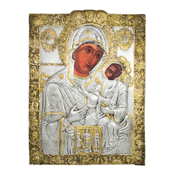 The icon of the Virgin of Ekatontapyliani in Paros Silver resized copy with partial 24K gold plating and screen printing the faces of Mary and Christ. Dimensions: 28cm x 37,5cm. Cyclades, Paros island Silver 999ο    & partial gold-plating 24K