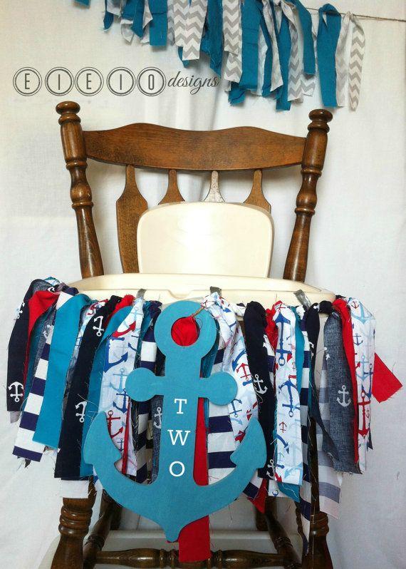 NAUTICAL High Chair Banner  Little SAILOR Birthday by eieiodesigns