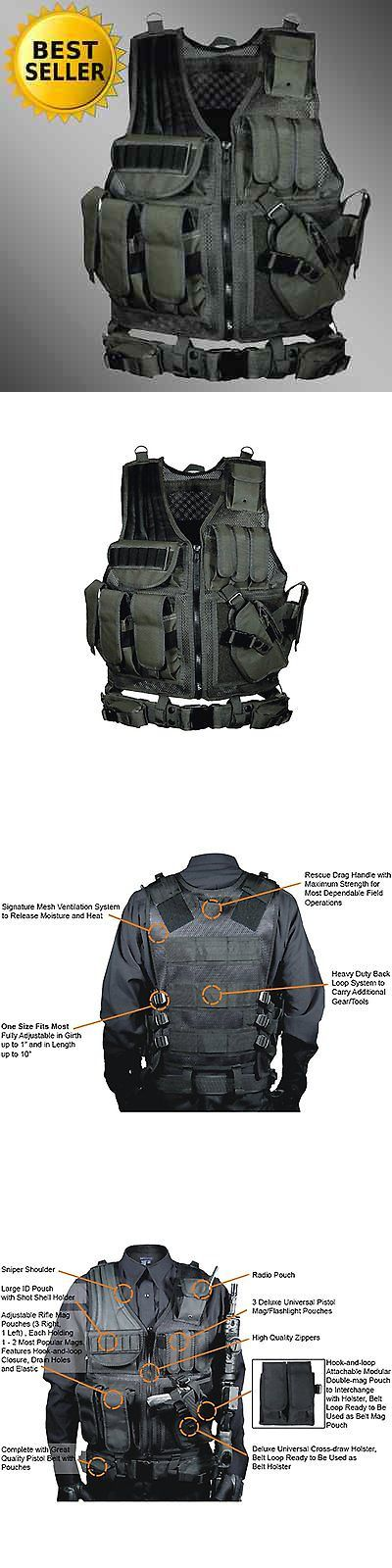 Chest Rigs and Tactical Vests 177891: Tactical Vest Swat Gear Molle Assault Military Black Pistal Holster Ammo Police BUY IT NOW ONLY: $63.15