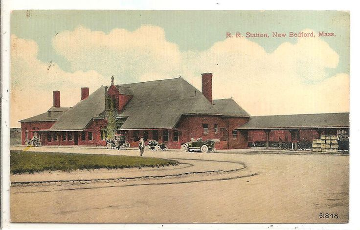 NEW BEDFORD, MA - New Railroad Station, view from the front, people, Cars  | eBay