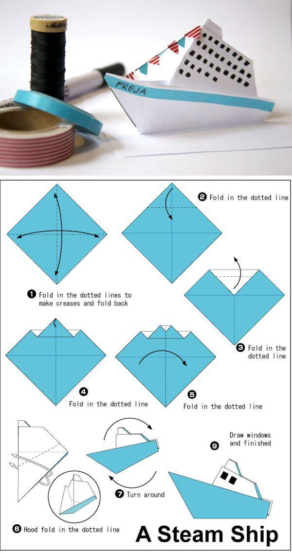 Simple origami steamer ship   For summer indoor entertainment craft idea for older kids