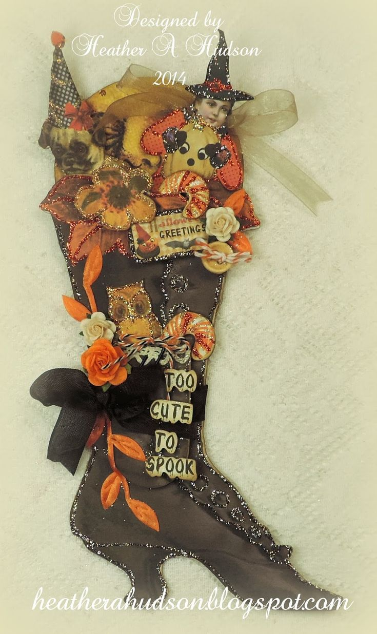 vintage halloween witch boot ornament that i designed using one of my digital collage sheets which - Vintage Halloween Witches