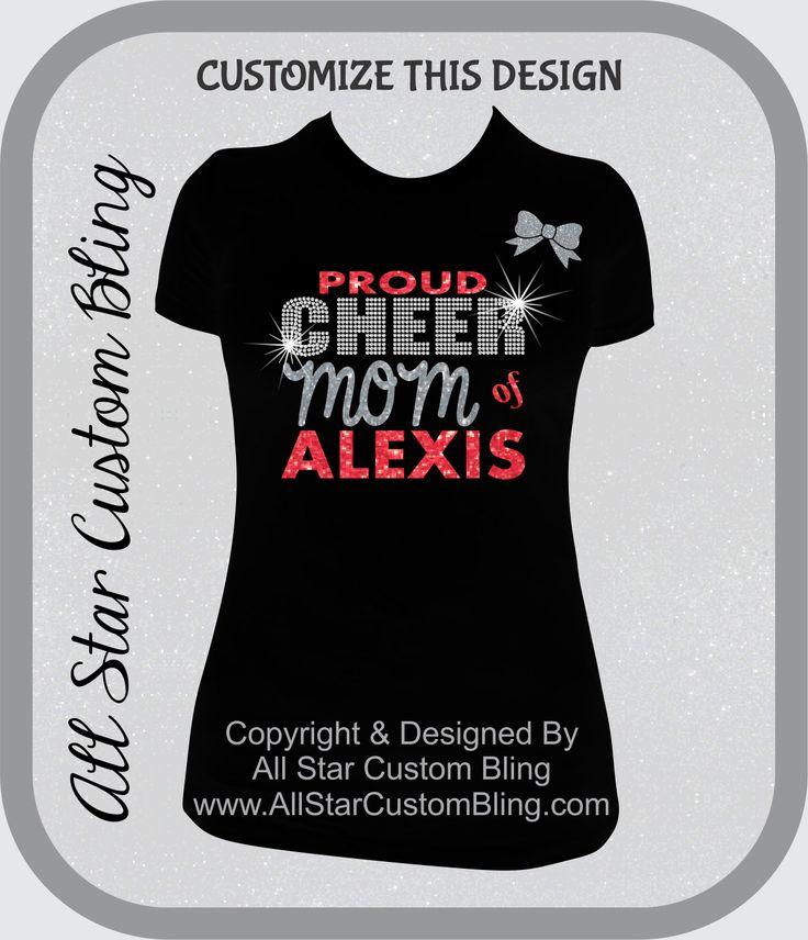 Custom Proud Cheer Mom Bling Rhinestone Shirt, Cheer Mom Bling Shirts, Bling Cheer Mom Shirts by AllStarCustomBling on Etsy https://www.etsy.com/listing/196237816/custom-proud-cheer-mom-bling-rhinestone