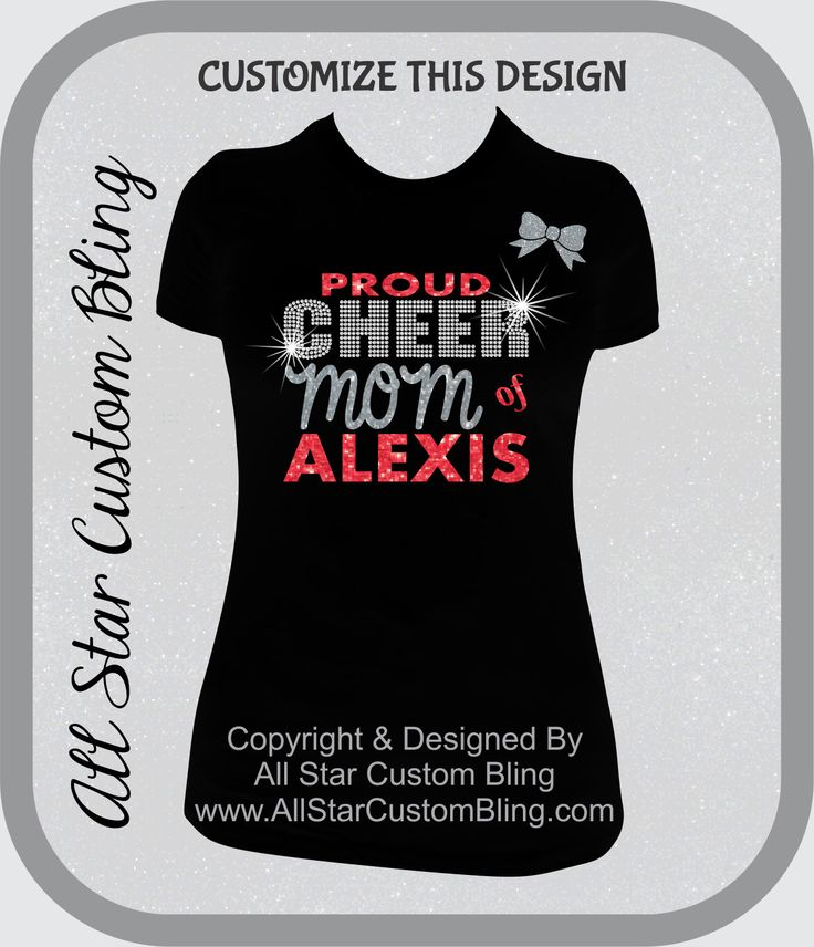 Custom Proud Cheer Mom Bling Rhinestone Shirt, Cheer Mom Bling Shirts, Bling Cheer Mom Shirts by AllStarCustomBling on Etsy https://www.etsy.com/listing/196237816/custom-proud-cheer-mom-bling-rhinestone