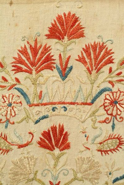 Crete Embroidery, 18th CenturyA fragment from a Cretan skirt border with some motifs derived from Italian renaissance art and others from Byzantine art. Mostly embroidered in feather stitch.