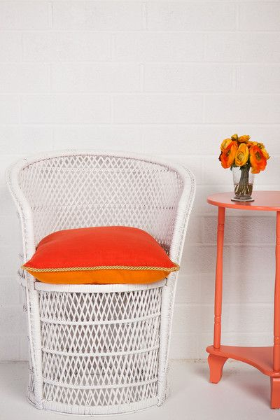 Velvet on cane and Coral Side Table from Society Social
