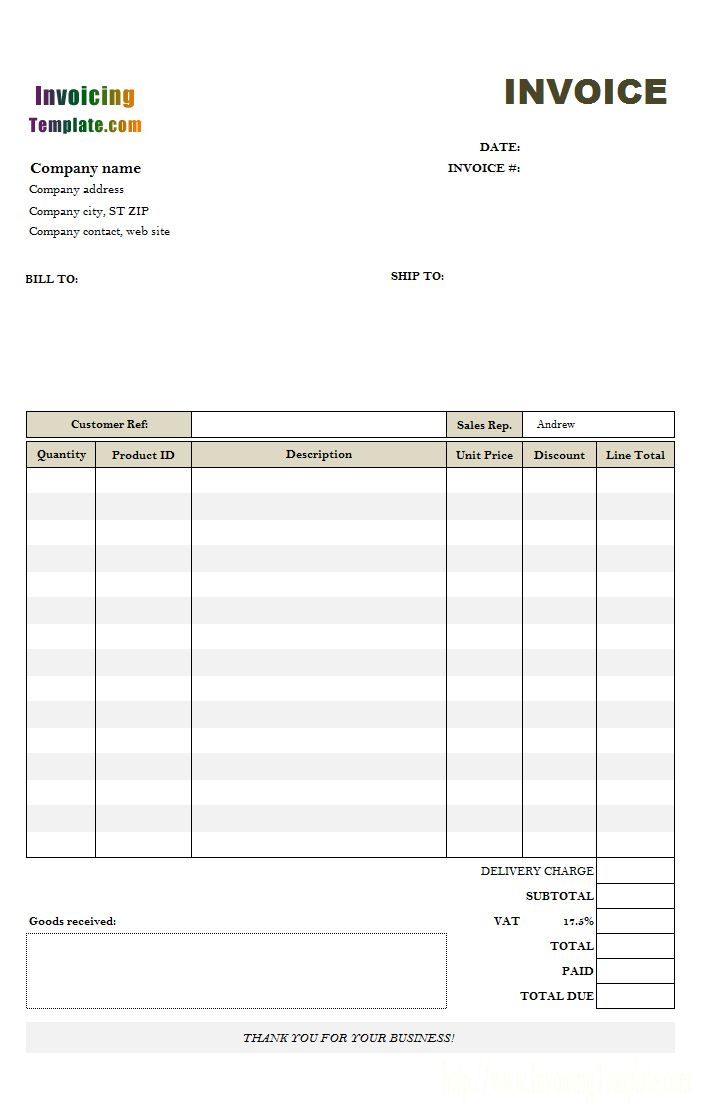 uk tax invoice template