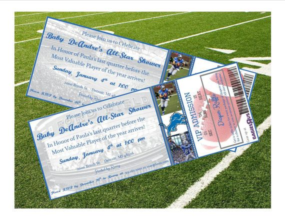 Detroit Lions Inspired NFL Football Ticket Baby Shower