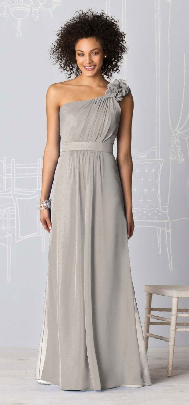 72 best bridesmaids old images on pinterest bridesmaids full length one shoulder bridesmaid dress in lux chiffon fabric has matching belt shirred bodice and pretty flower detail at shoulder ombrellifo Images