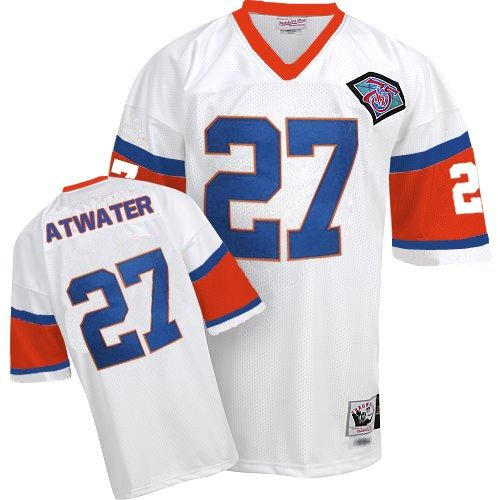 Mitchell And Ness Denver Broncos #27 Steve Atwater White With 75TH Patch Authentic Throwback NFL Jersey Sale
