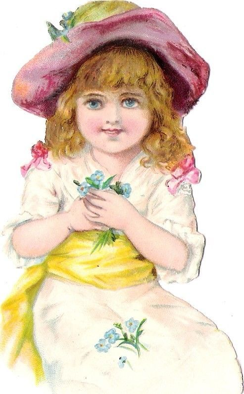 Oblaten Glanzbild scrap die cut chromo Kind fille 11cm girl child Hut hat flower