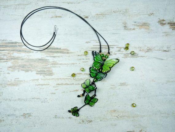 Long pendant with butterflies polymer clay by KAMELEONjewelryART