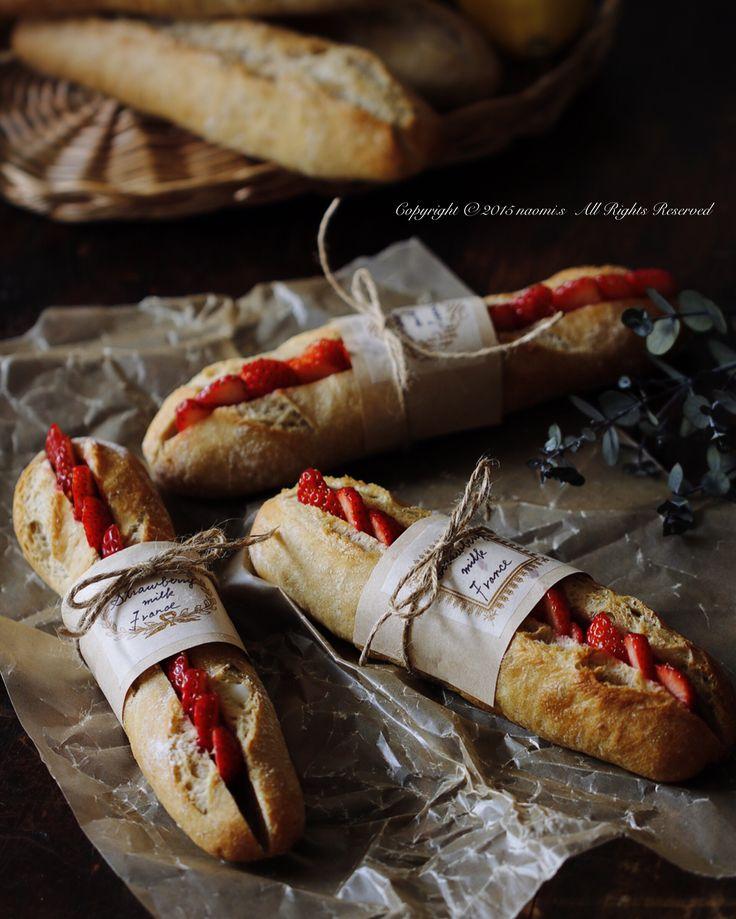 「スローブレッドクラシック(強力粉)✖️全粒粉 @甘酒酵母」でフィセル(バケット)を焼き、いちごをサンドしたミルクフランス。