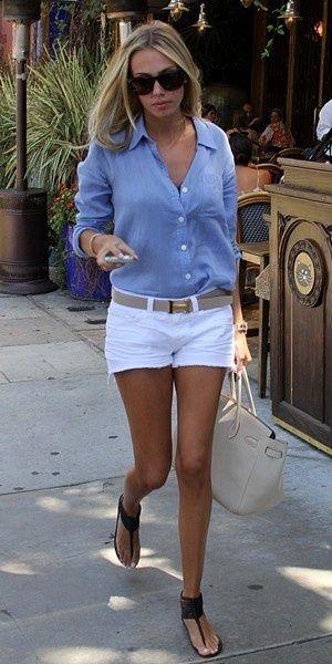Everyday Glamour - blue shirt + white shorts