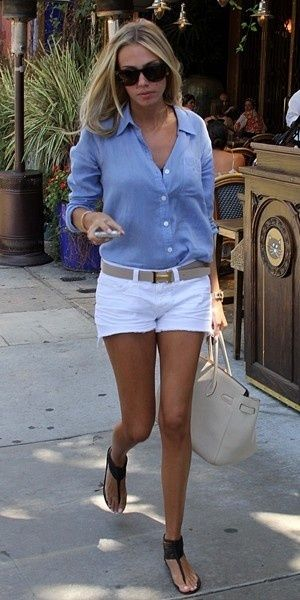 White shorts and blue button up