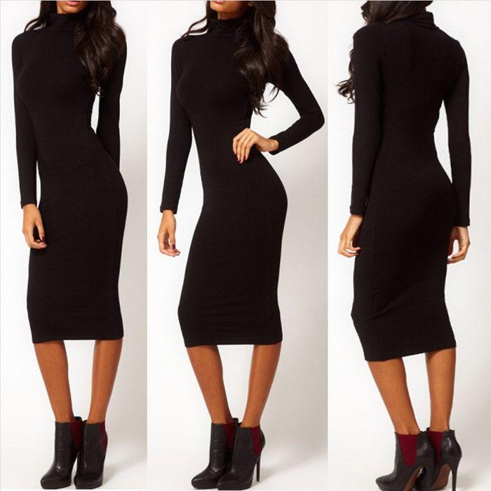 Nový módny Neformálne Ženy letné šaty Čierne Hip Stretch s dlhým rukávom Turtle Neck Midi ceruzka mini šaty Šaty Žena Vestidos-in šaty od Dámske oblečenie a doplnky na Aliexpress.com | Alibaba Group