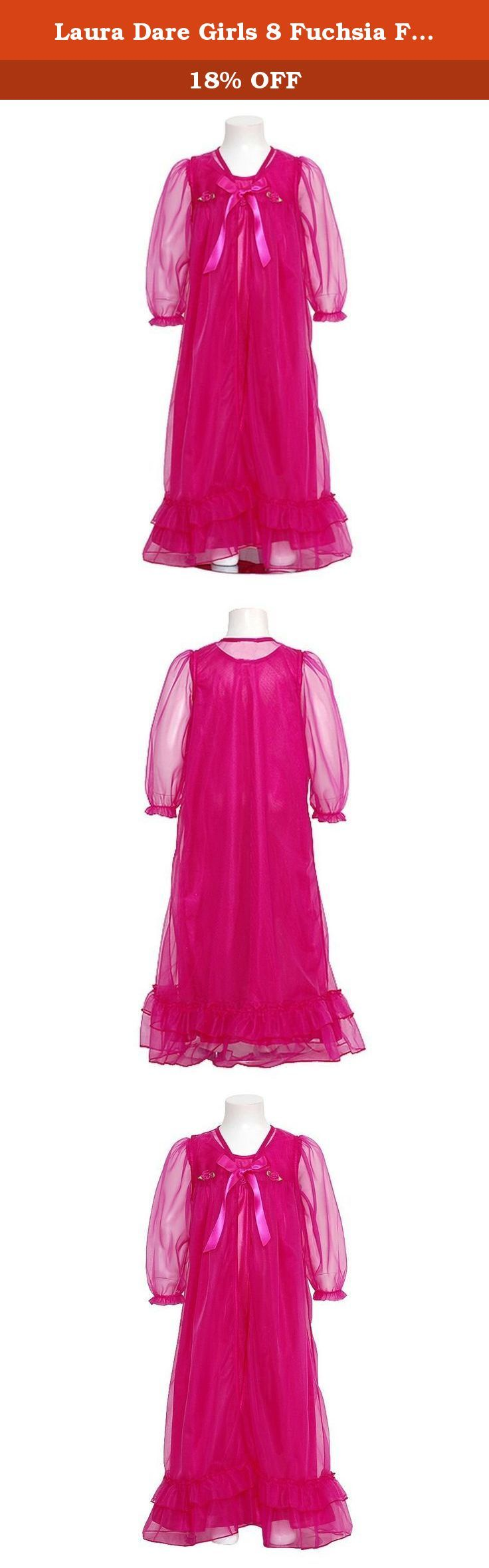 Laura Dare Girls 8 Fuchsia Floral Peignoir 2pc Robe Nightgown. An adorable Peignoir set for your little girl from Laura Dare. She'll feel so grown up in this 2pc sheer frilly set. The sheer robe is trimmed in ruffles and ties with a soft ribbon at the neck. Soft ribbon flowers ar attached along the neckline. Completing this set is a shimmery nightgown with spaghetti straps. Great for her first sleepover or any special girls time.