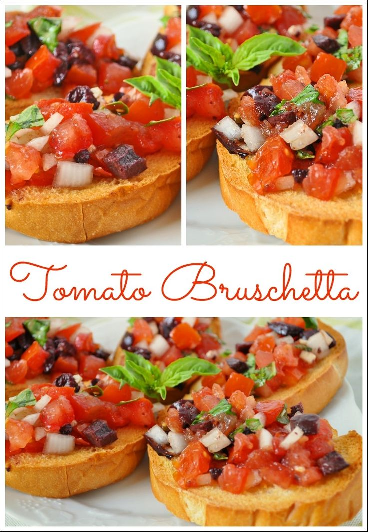 Looking for an easy party appetizer? Make this Tomato Bruschetta with ingredients straight from your garden or farmer's market! Get the healthy recipe that can easily be made gluten free at This Mama Cooks! On a Diet