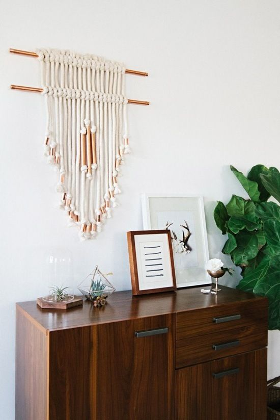 Make It: Macrame and Copper Wall Art DIY » Curbly | DIY Design Community But with color. LOTS of color