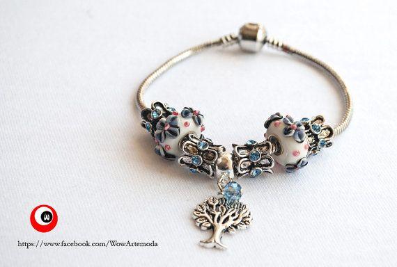 Pandora Style Bracelet with life tree and azure di WoWArteModa, €9.90