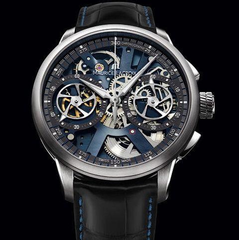 Maurice Lacroix chronograaf skelet horloge met hand opwind uurwerk limited edition 188 stuks wereldwijd €14750,- www.juweelco.nl