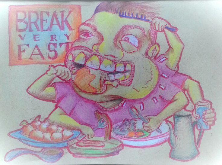 BREAKveryFAST.  Pen on paper A5