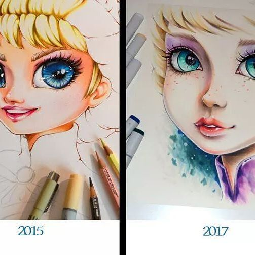 Creepy! I just saw my old drawing of Elsa and had to redraw her!! xD This made me realize how much my style has changed over the years. Actually it's interesting to think about what it will look like in another two years oO Well, I guess we're all going through this :) #cute #kawaii #elsa #princess #disneyprincess  #disney #eyes #lips #makeup #traditional #art #artist #copicmarker #copic #marker #drawing #painting #selfie #dress #blonde #girl #woman #manga #anime #portrait #cartoon