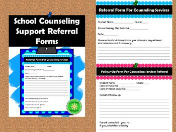 FREE!! Referral Form for School Based Counseling Services