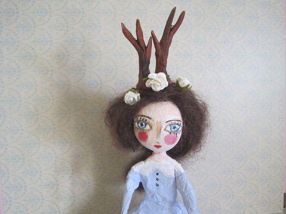 art doll paper mach doll deer par MlleCelesteArtdoll sur Etsy