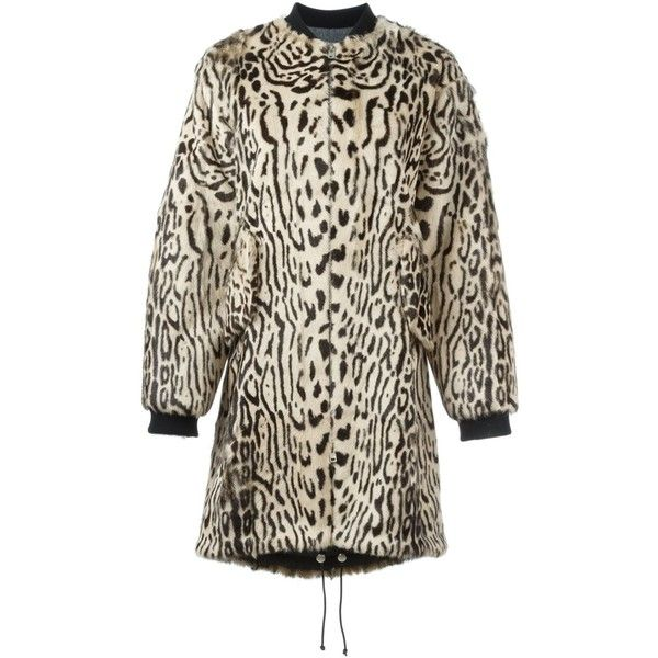 Giambattista Valli animal print coat (£4,995) ❤ liked on Polyvore featuring outerwear, coats, nude, brown fur coat, giambattista valli coat, giambattista valli, brown coat and print coat